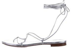 Michael Kors Metallic Leather Wraparound Sandals