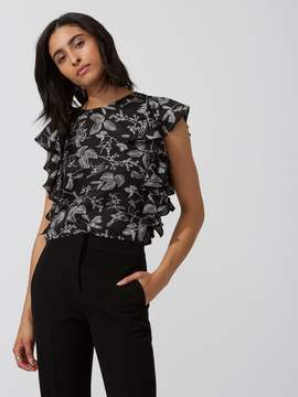 Frank and Oak Printed Satin Ruffle Top in Black