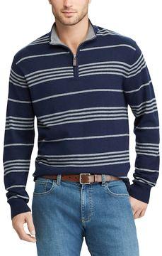 Chaps Men's Classic-Fit Striped Quarter-Zip Sweater