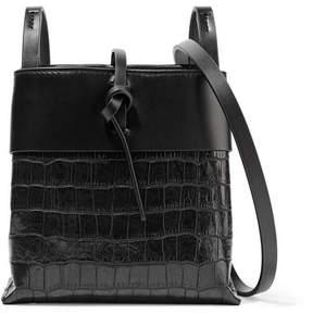 KARA - Nano Tie Matte And Croc-effect Patent-leather Shoulder Bag - Black
