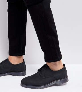 Asos Wide Fit Lace Up Derby Shoes In Black Leather With Ribbed Sole