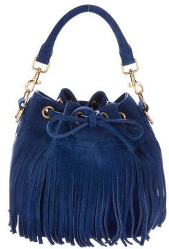 Saint Laurent Emanuelle Fringed Suede Bucket Bag - BLUE - STYLE