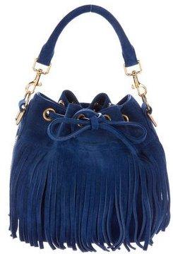 Saint Laurent Emanuelle Fringed Suede Bucket Bag - BLUE - STYLE