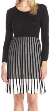 Calvin Klein Women's Colorblock Pleated Sweater Dress