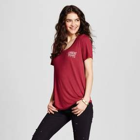 Fifth Sun Women's Current Mood Wine Graphic T-Shirt Burgundy