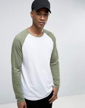 Esprit Longline Contrast Raglan Long Sleeve T-Shirt