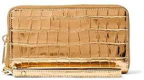 Michael Kors Gold Croc-Embossed Leather Smartphone Wristlet - GOLD - STYLE