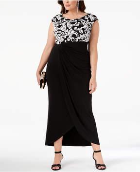 Connected Plus Size Soutache Draped Gown