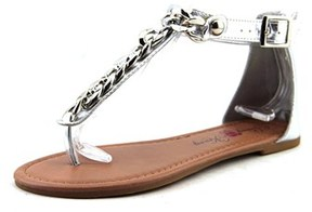 Penny Loves Kenny Troupe Women Open Toe Synthetic Silver Gladiator Sandal.