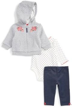 Little Me Infant Girl's Flower Swag Quilted Hoodie, Bodysuit & Leggings Set