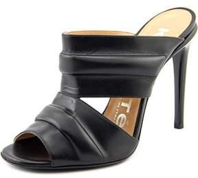 Kalliste Vitello Women Open Toe Leather Black Slides Sandal.