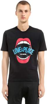 Love Moschino Love & Peace Print Cotton Jersey T-Shirt