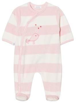 Absorba Pink and Cream Bird Embroidered Velour Babygrow