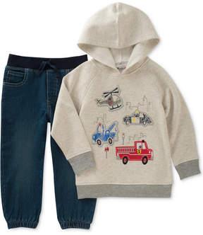 Kids Headquarters 2-Pc. Hooded Shirt & Denim Joggers Set, Toddler Boys (2T-5T)
