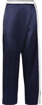Dion Lee Striped Silk-satin Wide-leg Pants - Midnight blue