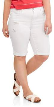 Dollhouse Juniors' Plus White Destroyed Cuffed Bermuda Shorts