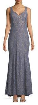 Betsy & Adam Plus Sleeveless Lace Trumpet Gown
