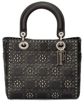 Christian Dior Medium Lady Bag in Black Studded Calfskin