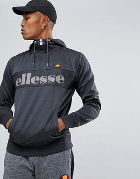 Ellesse Poly Tricot 1/4 Zip Hoodie With Logo In Gray