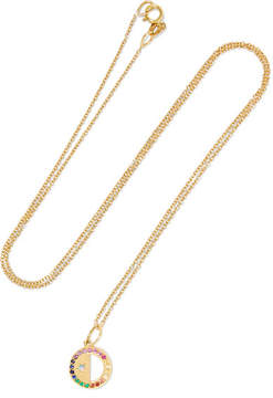 Andrea Fohrman Half Moon 18-karat Gold Multi-stone Necklace