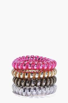 boohoo Melanie Metallic Jelly Hair Tie 4 Pack