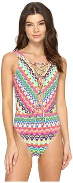 Bleu Rod Beattie In Living Color Lace Down Over the Shoulder Mio One-Piece Women's Swimsuits One Piece