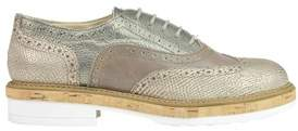 Manas Design Women's Grey Leather Lace-up Shoes.