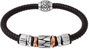 JCPenney FINE JEWELRY Mens Stainless Steel and Black Leather Bracelet