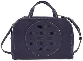 Tory Burch Perforated-Logo Suede Satchel- Tory Navy - ONE COLOR - STYLE