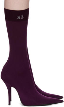 Balenciaga Purple BB Heeled Sock Boots