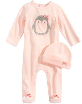 First Impressions 2-Pc. Velour Hat & Penguin Footed Coverall Set, Baby Girls (0-24 months), Created for Macy's