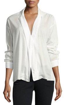 3x1 Moxy Cotton-Blend Wrap Shirt, White