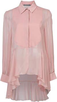 Alberta Ferretti sheer dip-hem peplum blouse