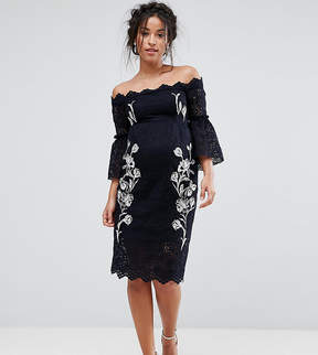 Bardot Hope and Ivy Maternity Hope & Ivy Maternity Lace Pencil Dress With Embroidery
