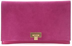Tory Burch Carmen Grained-leather And Suede Clutch Bag - FUXIA - STYLE