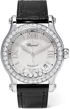 Chopard Happy Sport 36 Alligator, Stainless Steel And Diamond Watch - White gold