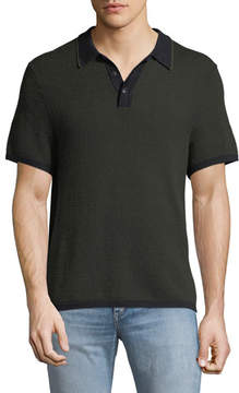 Rag & Bone Men's Finn Textured Graphic-Stitch Polo Shirt