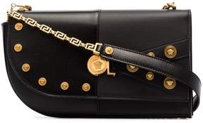 Versace Black studded leather shoulder bag