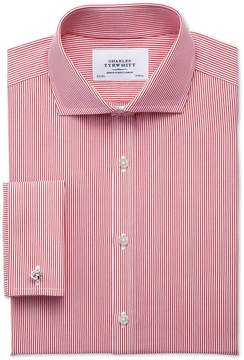 Charles Tyrwhitt Extra Slim Fit Spread Collar Non-Iron Bengal Stripe Red Cotton Dress Shirt French Cuff Size 15.5/32