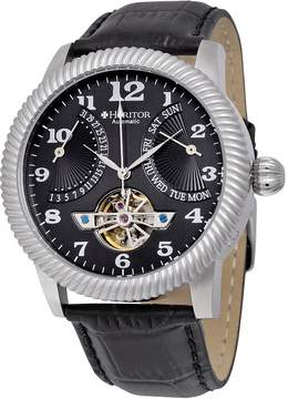 Heritor Piccard Black Dial Black Leather Automatic Men's Watch