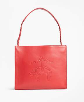 Brooks Brothers Golden Fleece-Embossed Leather Handbag