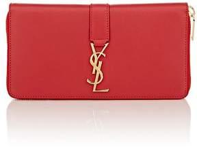 Saint Laurent Women's Monogram Continental Zip-Around Wallet - RED - STYLE
