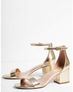 Express metallic low block heeled sandals