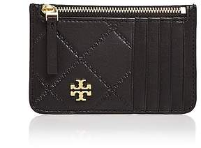 Tory Burch Georgia Top Zip Leather Card Case - BLACK/GOLD - STYLE