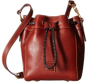 Dooney & Bourke Florentine Classic Mini Hattie Drawstring Drawstring Handbags - CHESTNUT/SELF TRIM - STYLE