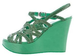 Stephane Kelian Braided Leather Platform Wedges