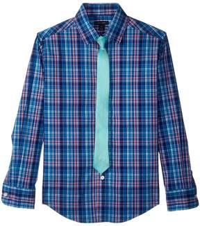 Tommy Hilfiger Long Sleeve Stretch Plaid Shirt w/ Straight Tie Boy's Clothing