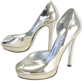Rodolphe Menudier Silver Patent Leather Peep Toe Heels