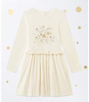 Petit Bateau Girl's shiny dual fabric dress