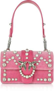 Pinko Mini Love Velvet Pearls Shoulder Bag